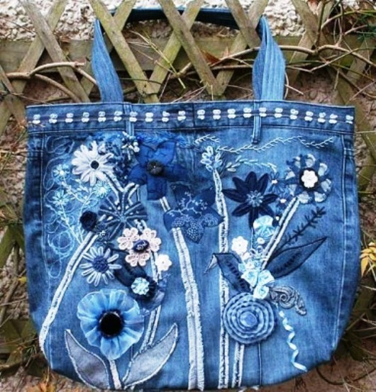 How to decorate a jeans bag with your hands