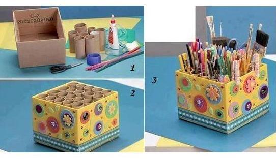 Большой органайзер для карандашей и ручек из подручных материалов