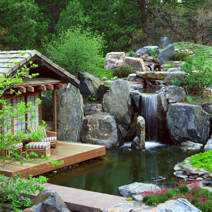 водопад на дачном участке