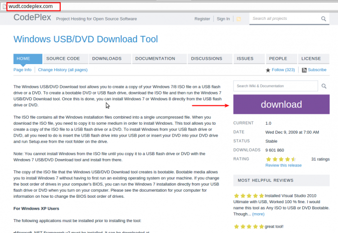 Windows USB/DVD Download Tool