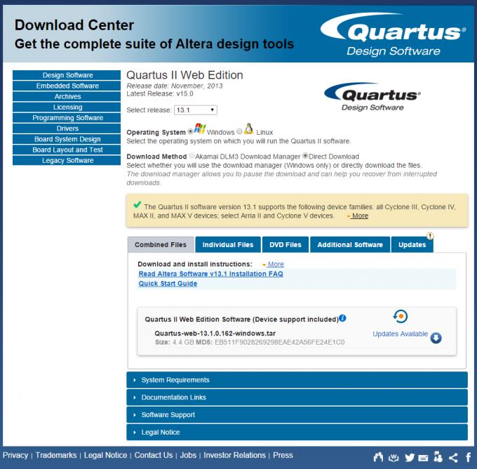 Выбираем компоненты Quartus II