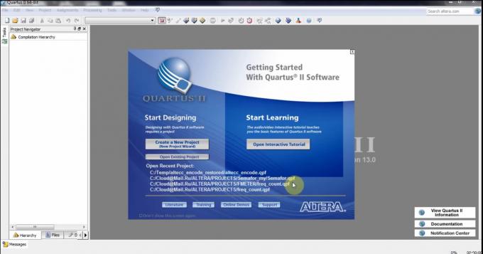 Первый запуск Quartus II