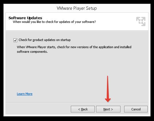 Проверка обновлений VMWare Player.