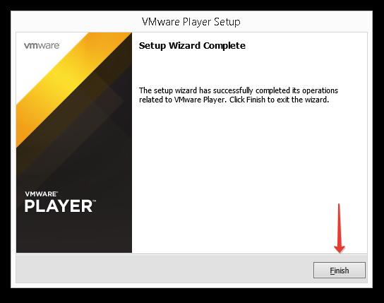 Завершение установки VMWare Player.
