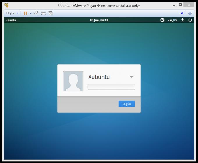 Вход в Xubuntu.