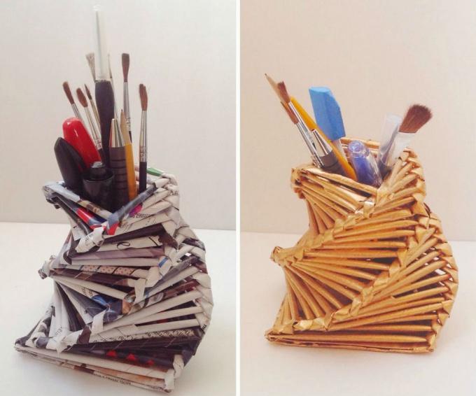 Как сделать подставку для карандашей из журнальных трубочек