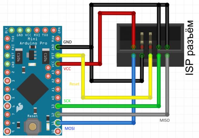 Схема подключения Arduino Pro Mini к программатору