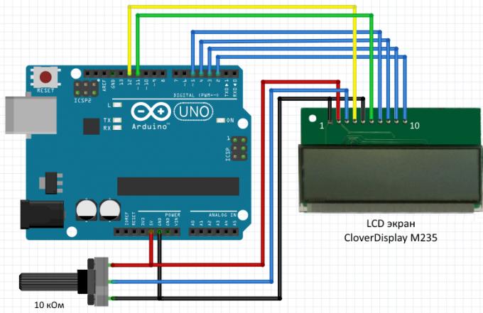 Схема подключения LCD экрана Clover M235