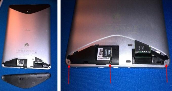 Снимаем нижнюю крышку планшета Huawei MediaPad S7