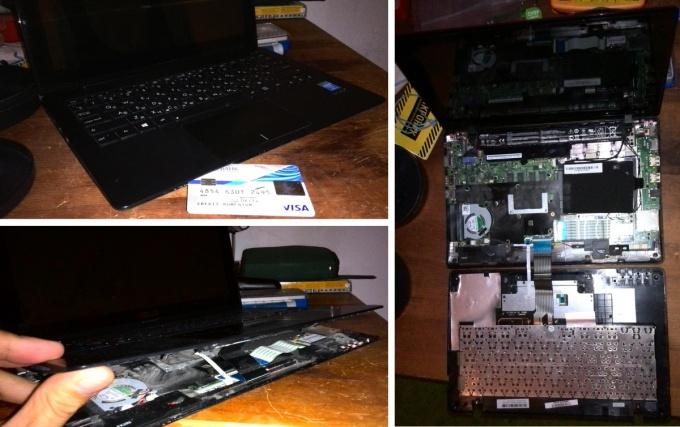 Снимаем верхнюю крышку ноутбука Asus X200L