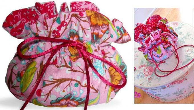 Нарядный мешочек из разноцветной ткани - шьем своими руками