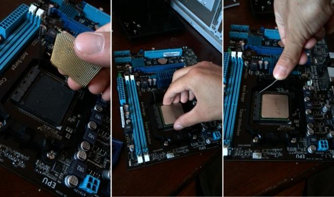 Устанавливаем процессор на материнскую плату