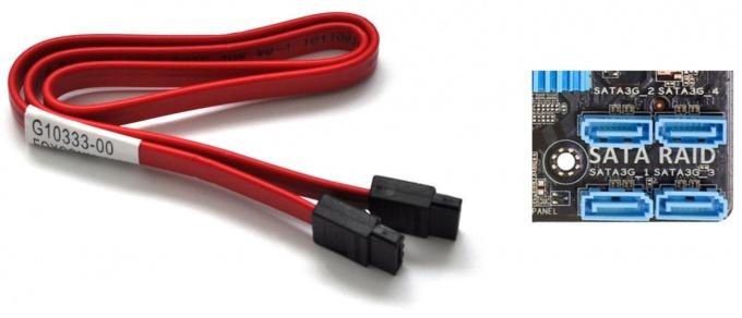Подключение жёсткого диска с помощью кабеля SATA