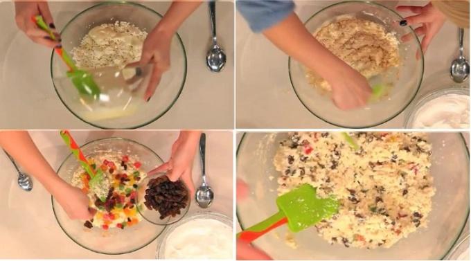 Сначала в творог добавляем взбитые желтки и перемешиваем, затем запаренную манку и гречневую муку и вновь тщательно размешиваем.  Добавляем к творогу цукаты и изюм, предварительно слив апельсиновый сок.  Творожную массу перемешиваем так, чтобы изюм и цука