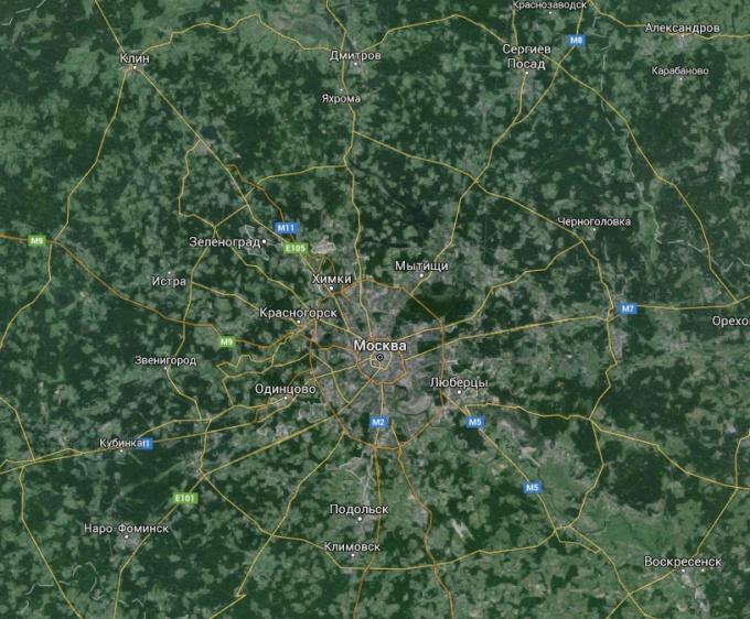 Карта Москвы и ближнего Подьмосковья
