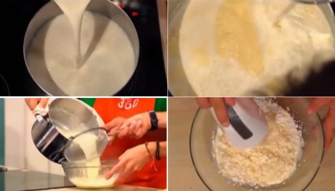 На основе крема «Маскарпоне» и взбитых сливок готовим крем для нашего торта. Чтобы приготовить «Маскарпоне» в домашних условиях необходимо разогреть на плите молоко и сливки, добавить в них уксус и дать смеси закипеть. В этот момен
