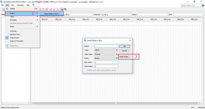 Поиск узлов и шин в Simulation Waveform Editor