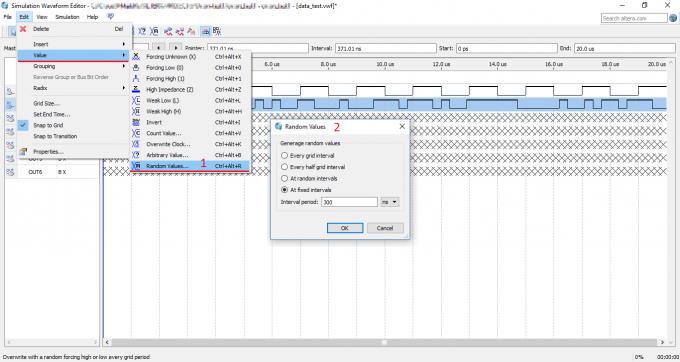 Зададим форму входного сигнала Data в Simulation Waveform Editor