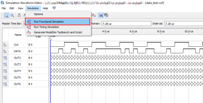 Запуск функционального симулирования в Simulation Waveform Editor