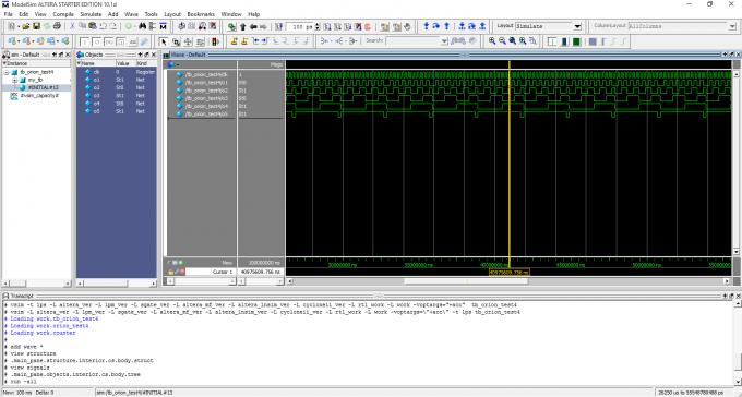 Успешная симуляция в ModelSim - Altera