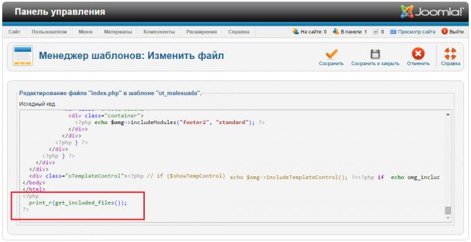 Добавление в шаблон PHP кода для вывода подключённых файлов