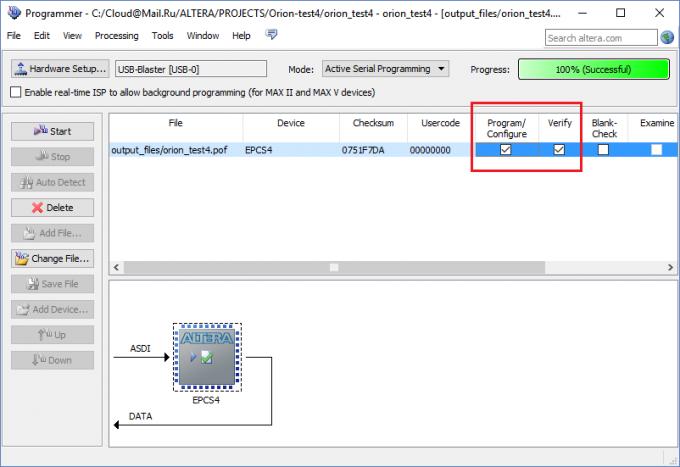 Загрузка прошивки в ПЛИС в режиме Active Serial