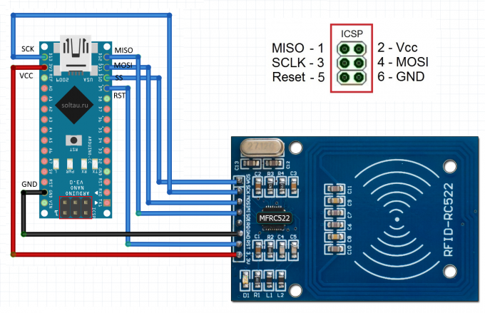 Wiring diagram for RFID-RC522 SPI