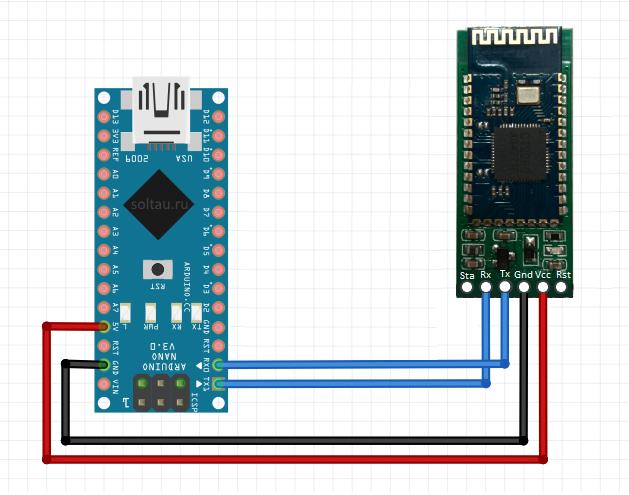 Схема подключения модуля bluetooth к Arduino