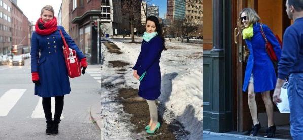 С каким шарфом носить синее пальто
