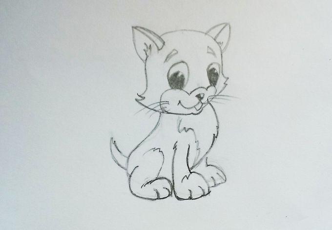 Как просто нарисовать кошку или котенка?