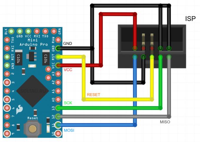 Схема подключения программатора к Arduino