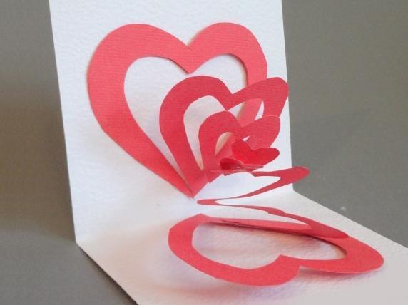 "3D открытка ""Два сердца"""