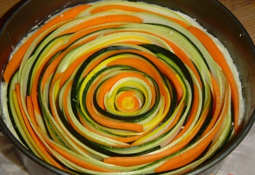 Рецепт пирога из кабачков в сырной заливке