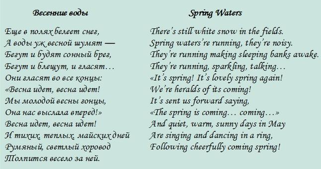 Красивый стих перевод на английский