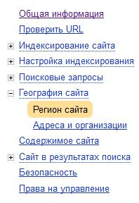 To specify the region in Yandex Webmaster