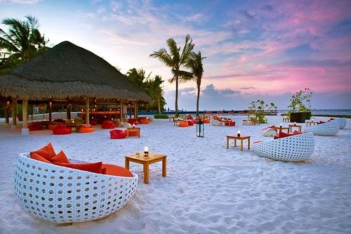 The island of Kuramathi in the Maldives