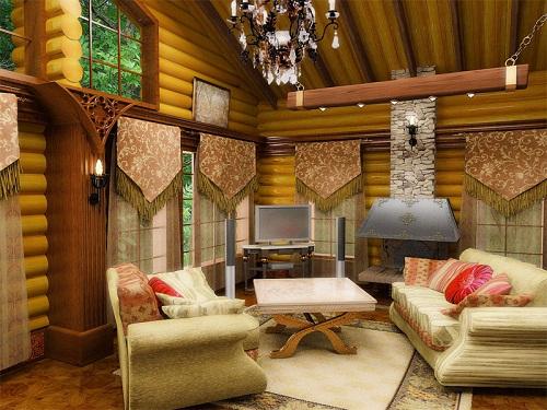 Стиль – кантри в интерьере гостиной.