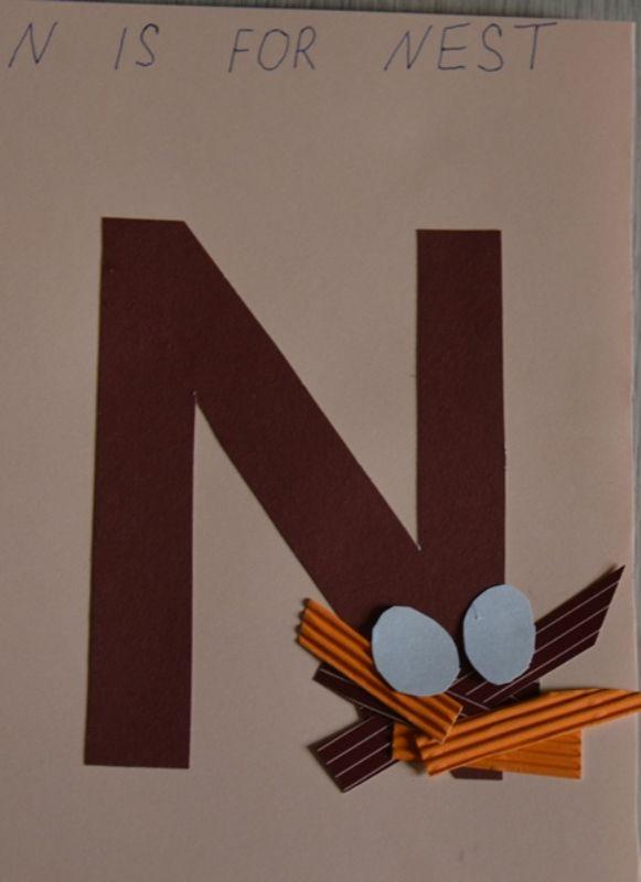 """Поделка с английской буквой N (nest означает """"гнездо"""")"""
