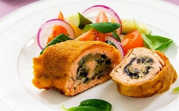 Meatless mushroom rolls for a couple