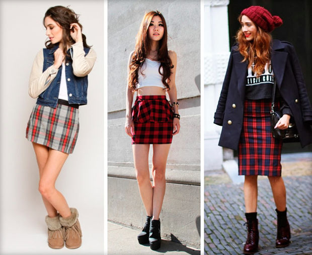 Skirt-plaid: how to wear