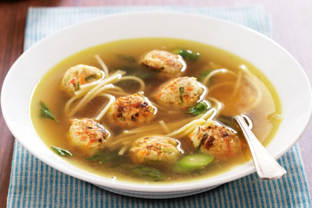 "Soup with Turkey meatballs ""Spring"""