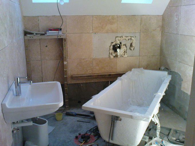 The order of repair works in the bathroom