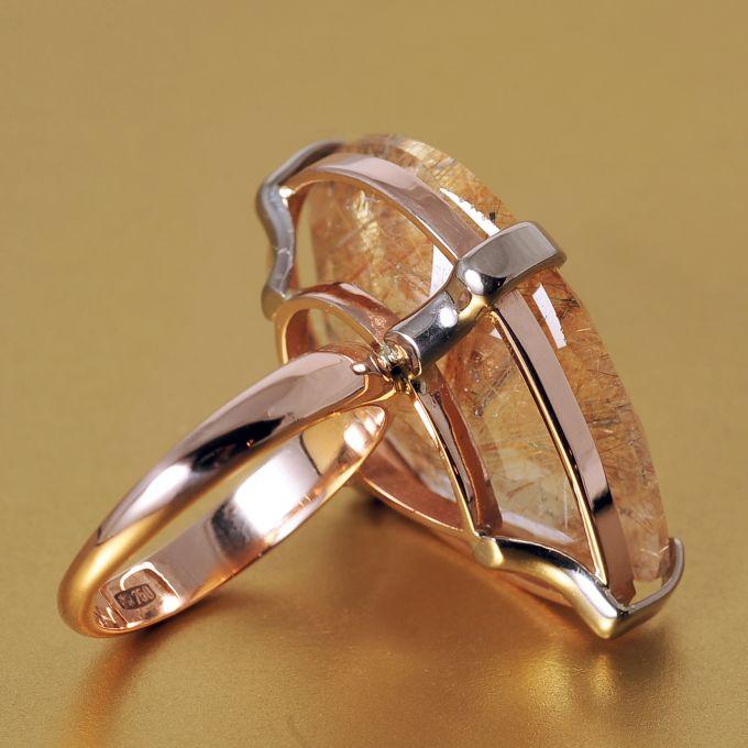 Золотое кольцо с рутиловым кварцем