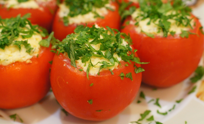 Tomatoes stuffed with meat salad