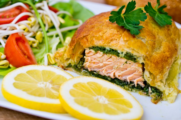 Baked in pastry salmon