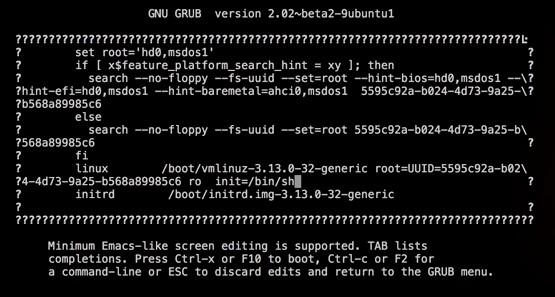 init=/bin/sh