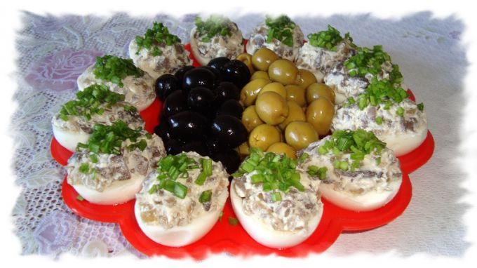 The appetizer on the festive table