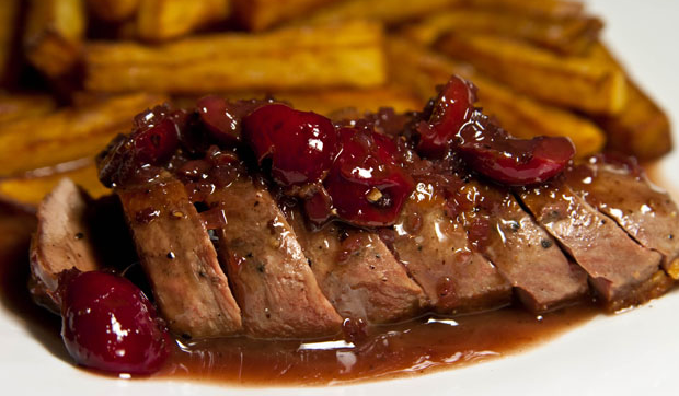 Roasted duck breast with cherries