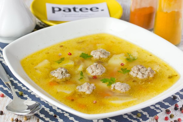 Soup with meatballs and rice