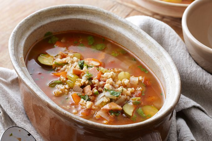 Soup with chicken and barley